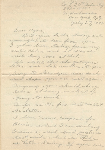 Go to Letter from Joe Olexa to Agnes Van Der Weide, July 27, 1942 item page