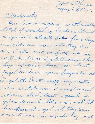 Go to Letter from Joe Olexa to Agnes Van Der Weide, May 24, 1943 item page