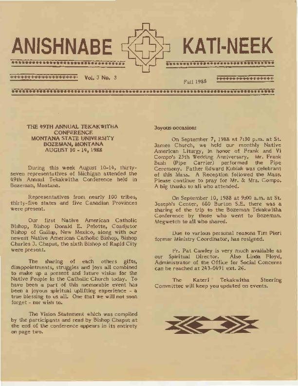 Go to Anishnabe Kati-Neek, Fall 1988 item page