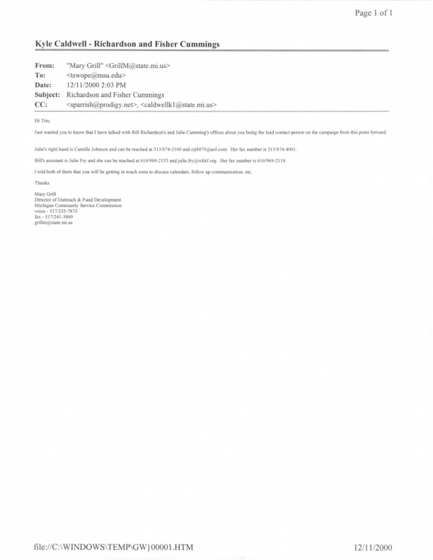 Go to ConnectMichigan Alliance 2000-12-11 email from Mary Grill item page