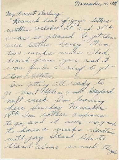 Letter from Agnes Van Der Weide to Joe Olexa, November 12, 1944