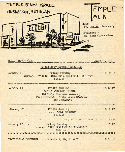 Go to Temple B'nai Israel Bulletin, January 6, 1967 item page