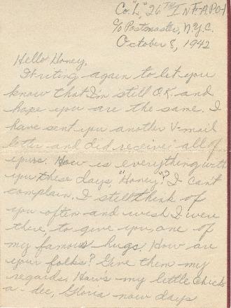 Go to Letter from Joe Olexa to Agnes Van Der Weide, October 8, 1942 item page
