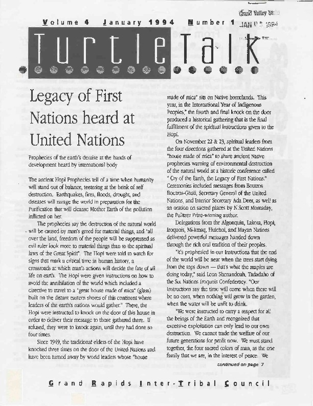 Go to Turtle Talk, Volume 4, January 1994 item page