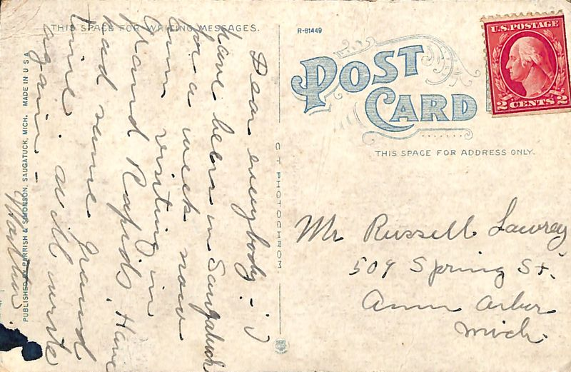 Go to Postcard to Mr. Russell Laurey item page
