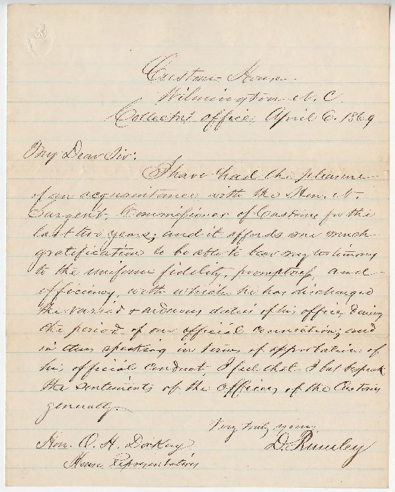 Go to Nathan Sargent petition and letter of recommendation for Commissioner of Customs, April 6, 1869 item page