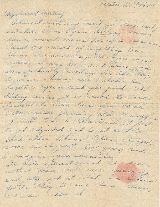Letter from Agnes Van Der Weide to Joe Olexa, October 24, 1944