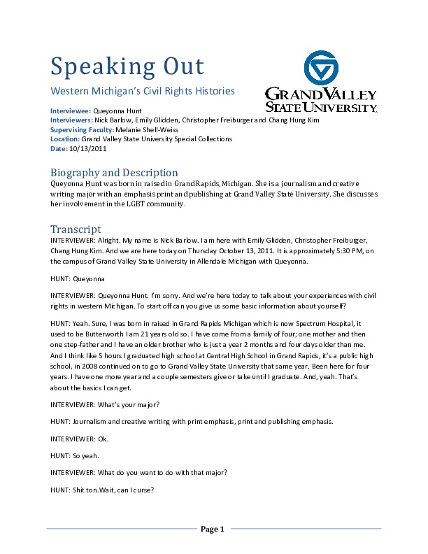 Go to Queyonna Hunt audio interview and transcript, interview 2 item page