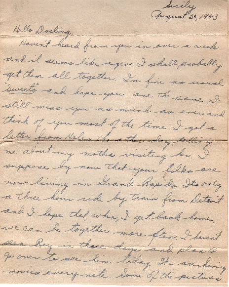 Go to Letter from Joe Olexa to Agnes Van Der Weide, August 30, 1943 item page