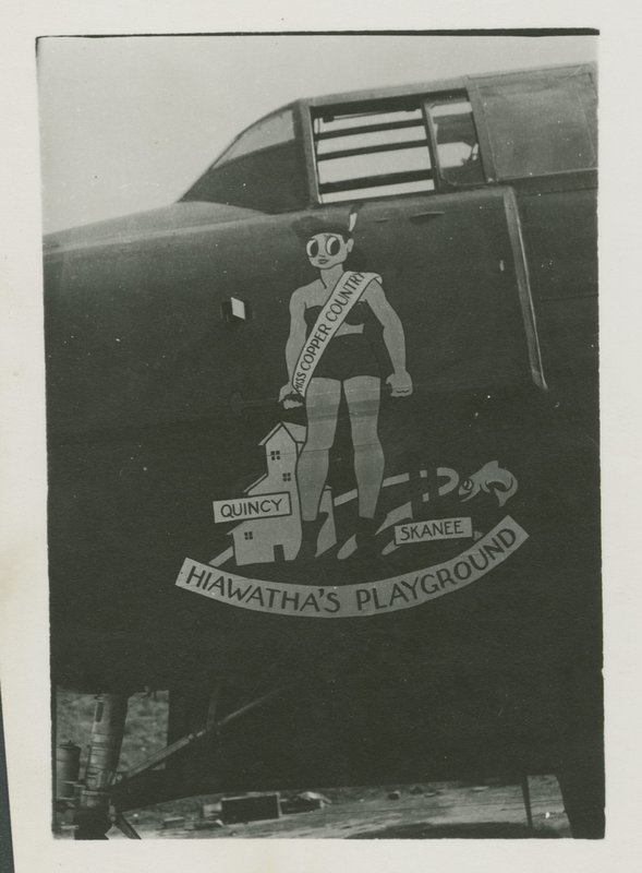 "Go to B-25 Mitchell Nose Art, ""Miss Copper Country, Quincy, Skanee, Hiawatha's Playground"" item page"