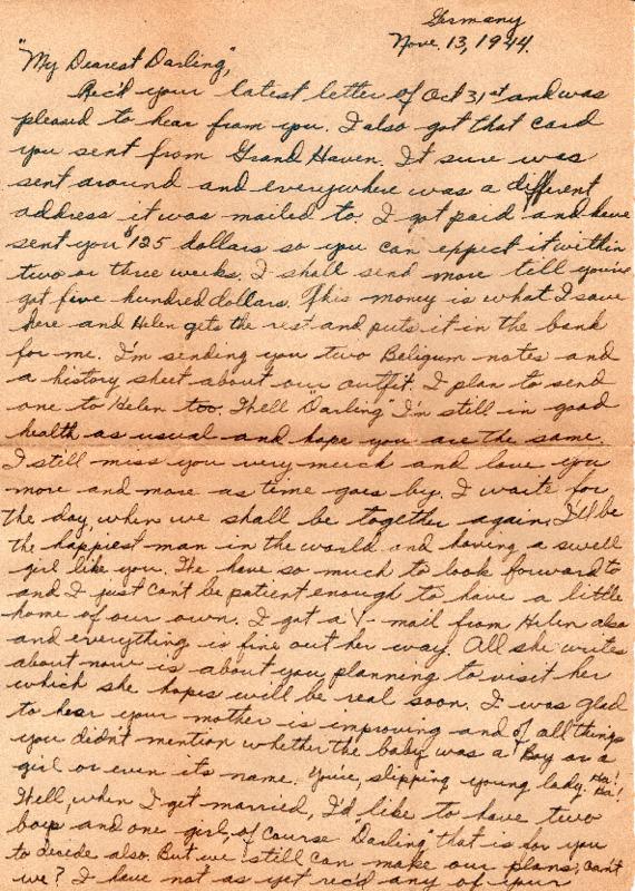 Go to Letter from Joe Olexa to Agnes Van Der Weide, November 13, 1944 item page