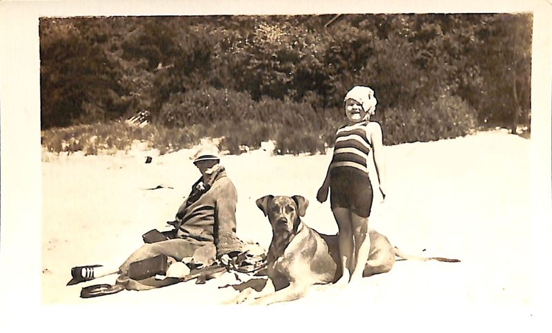 Go to Marth, Berley, and Sandy on the beach, 1929 item page