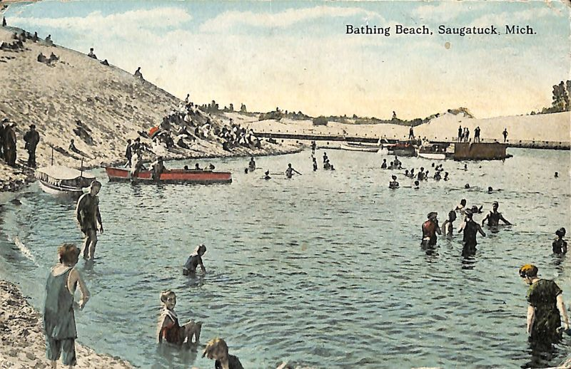 Bathing Beach, Saugatuck, Mich. postcard
