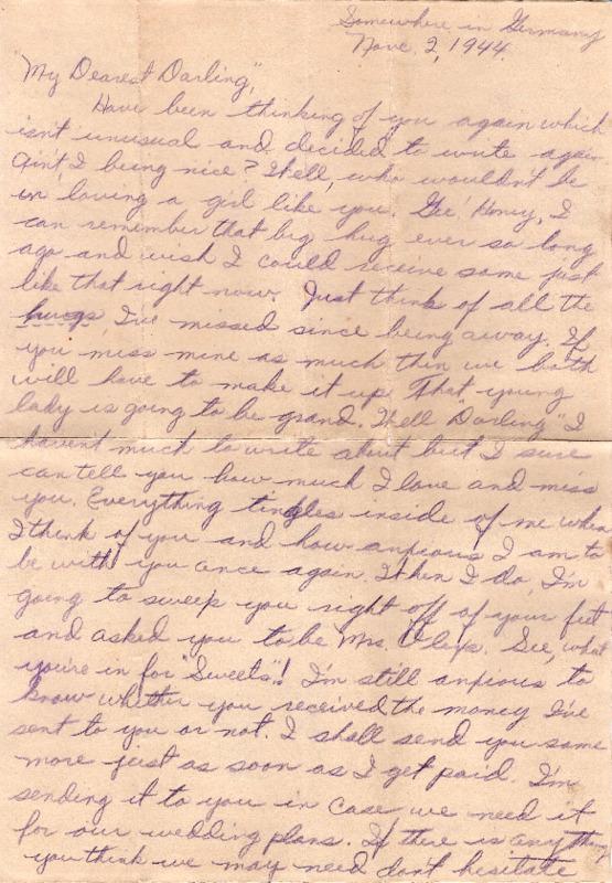 Go to Letter from Joe Olexa to Agnes Van Der Weide, November 2, 1944 item page