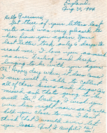 Go to Letter from Joe Olexa to Agnes Van Der Weide, August 30, 1944 item page