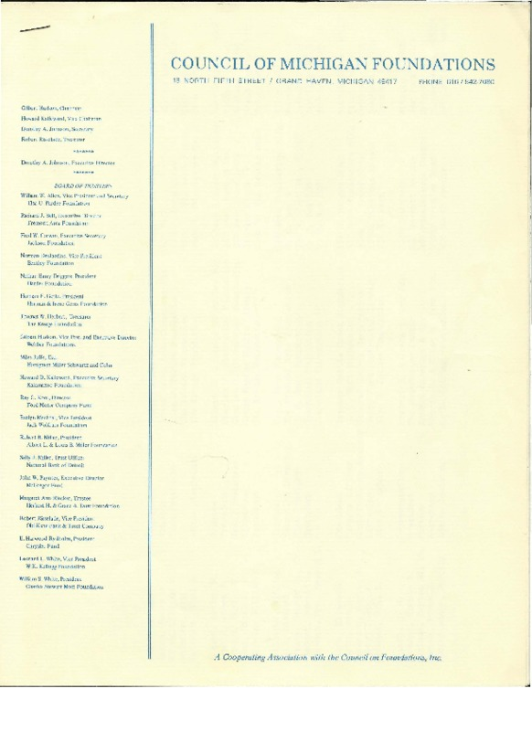 Go to Council of Michigan Foundations 1977 annual conference registrants item page