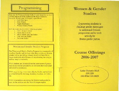 Go to Women & Gender Studies Course Offerings 2006-2007 item page