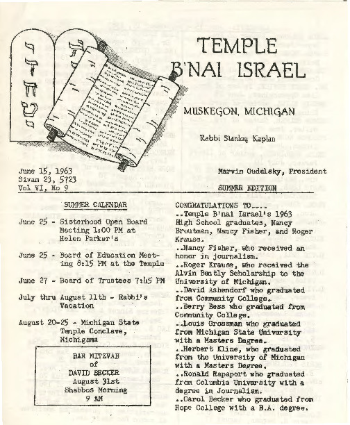 Go to Temple B'nai Israel Bulletin, June 15, 1963 item page