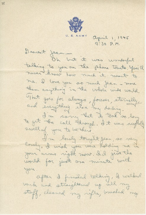"Go to Letter to Jean Worthington by Edward ""Ned"" Manley, April 01, 1945. item page"