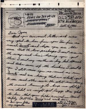 Go to Letter from Joe Olexa to Agnes Van Der Weide, September 15, 1943 item page