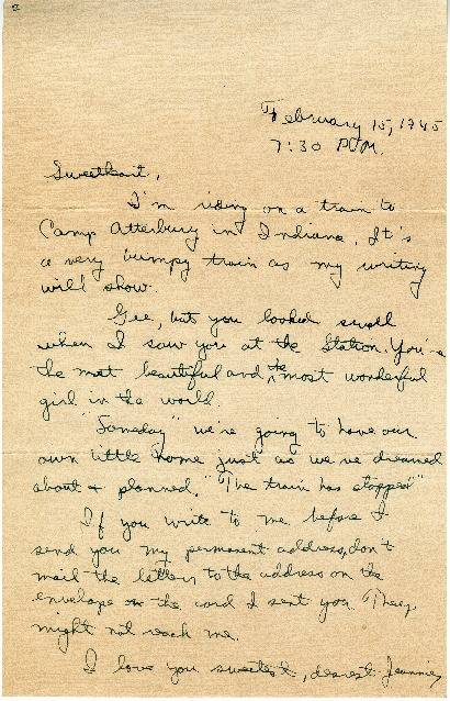 "Go to Letter to Jean Worthington by Edward ""Ned"" Manley, February 15, 1945. item page"