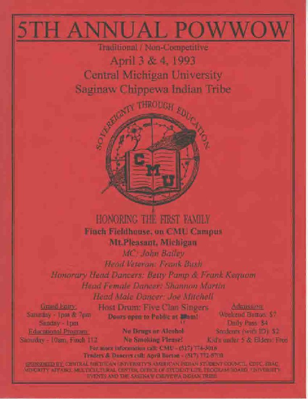 Go to Annual Central Michigan University Saginaw and Chippewa Powwow, April 1993 item page