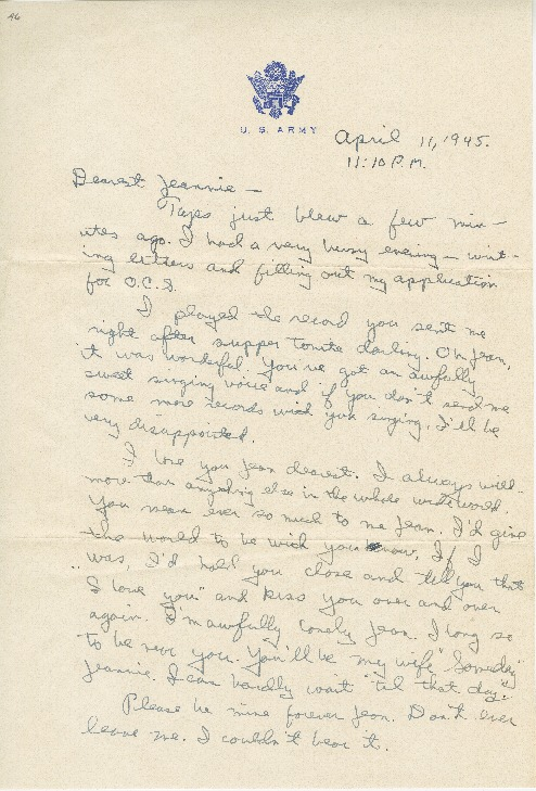 "Go to Letter to Jean Worthington by Edward ""Ned"" Manley, April 11, 1945. item page"