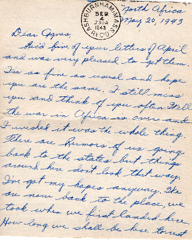 Go to Letter from Joe Olexa to Agnes Van Der Weide, May 20, 1943 item page