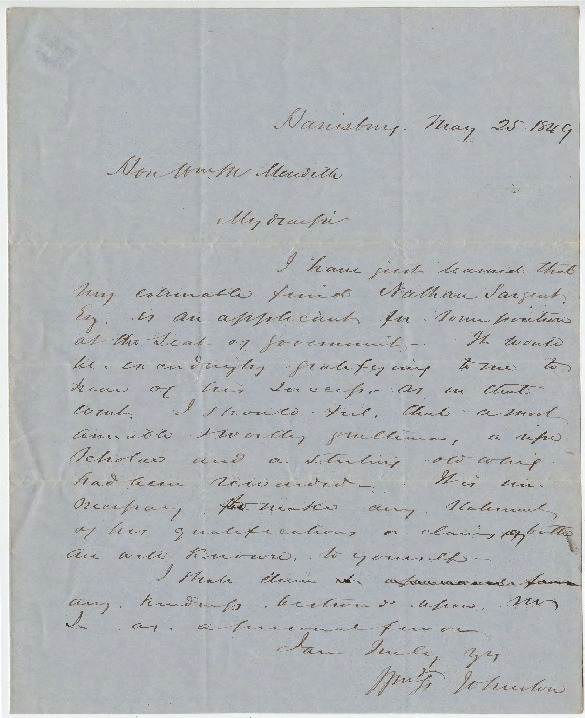 Petition for U.S. Auditor position, May 25, 1849