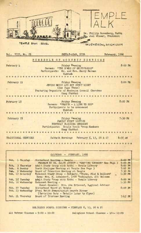 Go to Temple B'nai Israel Bulletin, February 4, 1966 item page