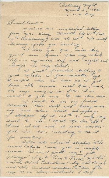 "Go to Letter to Edward ""Ned"" Manley by Jean Worthington, March 03, 1945. item page"