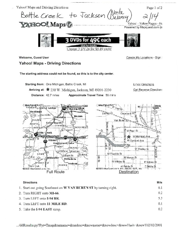 Go to ConnectMichigan Alliance 2001-02-02 Neeta Delaney driving directions item page