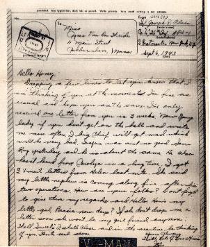 Go to Letter from Joe Olexa to Agnes Van Der Weide, September 6, 1943 item page