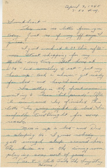 "Go to Letter to Edward ""Ned"" Manley by Jean Worthington, April 07, 1945. item page"