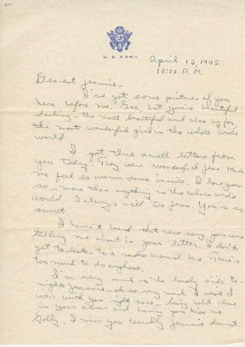 "Go to Letter to Jean Worthington by Edward ""Ned"" Manley, April 12, 1945. item page"