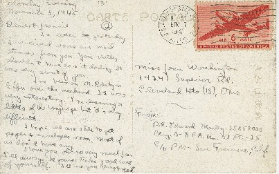 """Go to Postcard to Jean Worthington by Edward """"Ned"""" Manley, November 07, 1945. item page"""