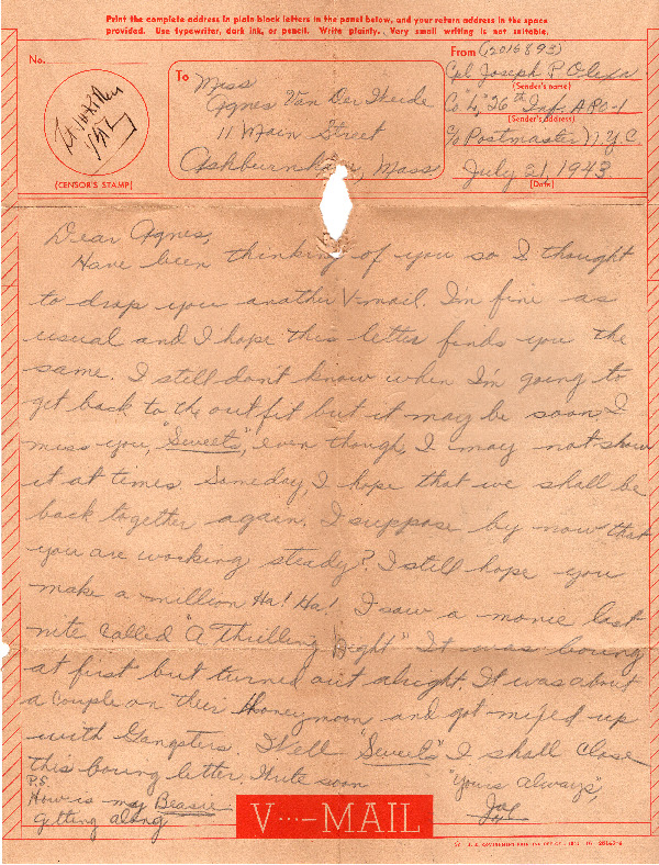 Go to Letter from Joe Olexa to Agnes Van Der Weide, July 21, 1943 item page