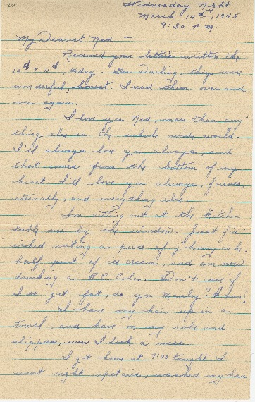 "Go to Letter to Edward ""Ned"" Manley by Jean Worthington, March 14, 1945. item page"