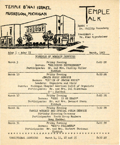 Go to Temple B'nai Israel Bulletin, March 3, 1967 item page