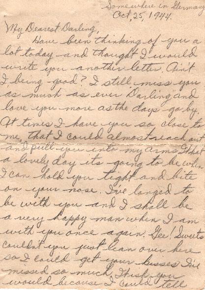 Go to Letter from Joe Olexa to Agnes Van Der Weide, October 25, 1944 item page