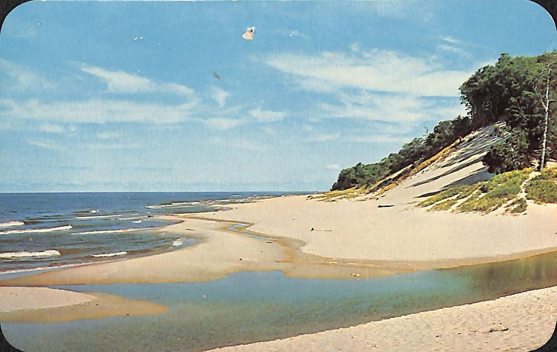 Go to Lake Michigan shore postcard item page