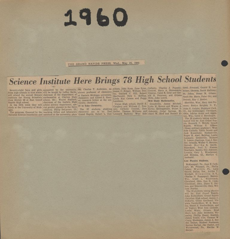 Go to 78 students to Attend Honors Institute for Young Scientists item page