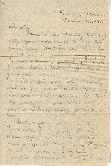 """Go to Letter to Jean Worthington by Edward """"Ned"""" Manley, October 23, 1945. item page"""