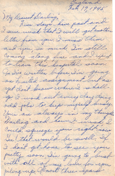 Go to Letter from Joe Olexa to Agnes Van Der Weide, February 19, 1945 item page