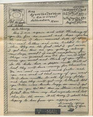 Go to Letter from Joe Olexa to Agnes Van Der Weide, August 29, 1942 item page