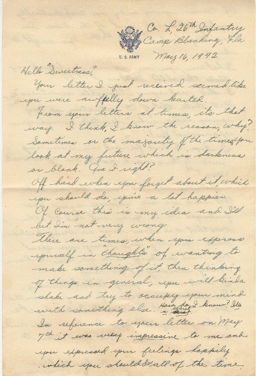 Go to Letter from Joe Olexa to Agnes Van Der Weide, May 16, 1942 item page