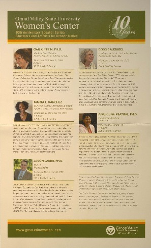 Go to 10th Anniversary Speaker Series: Educators and Activists for Gender Justice  item page