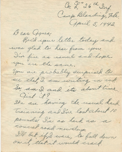 Go to Letter from Joe Olexa to Agnes Van Der Weide, April 5, 1942 item page