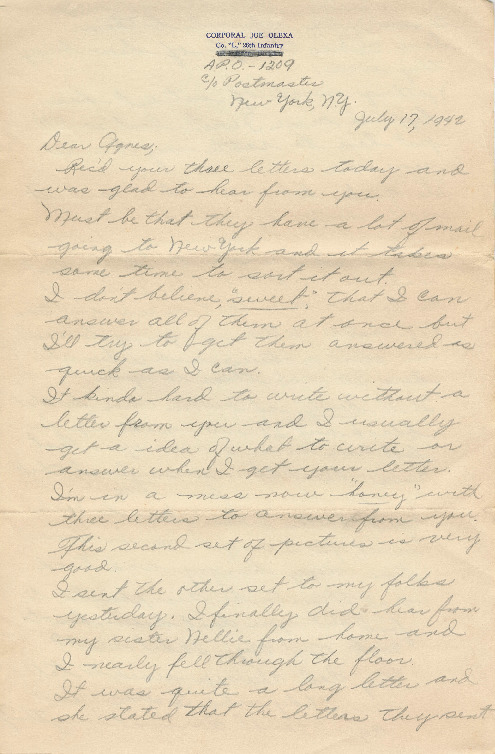 Go to Letter from Joe Olexa to Agnes Van Der Weide, July 17, 1942 item page