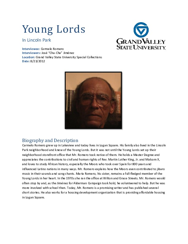 Go to Carmelo Romero interview and biography item page